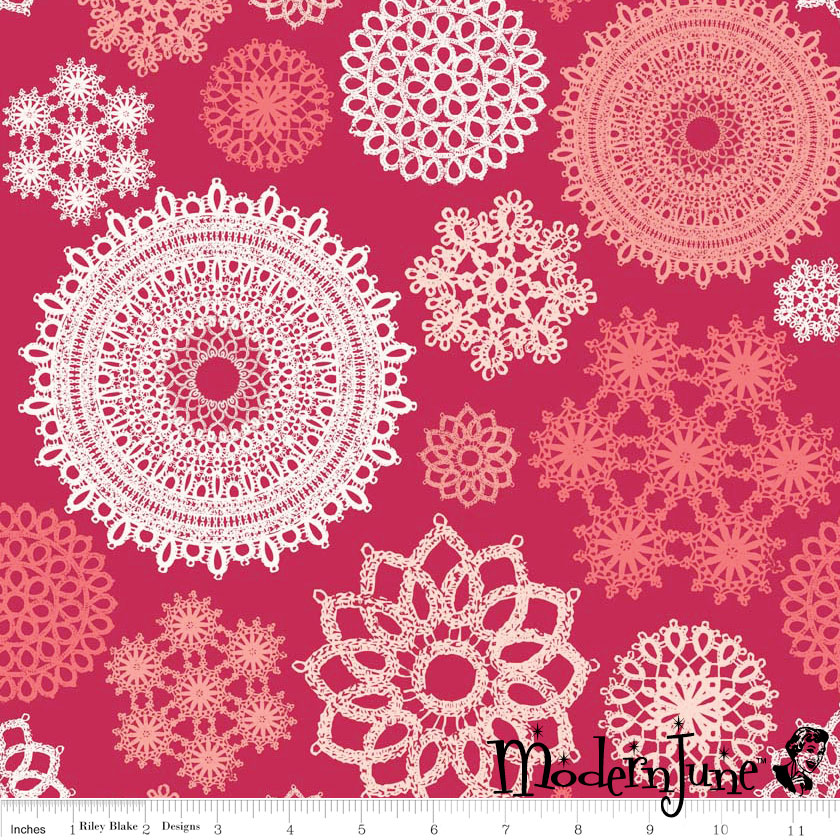 Doilies-on-red-Laminated-Cotton