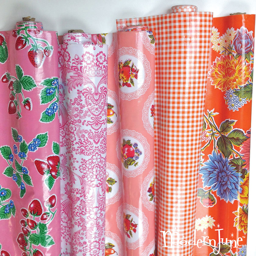 Coral,-Pink-and-Orange-Oilcloth---Modern-June-Oilcloth-Addict