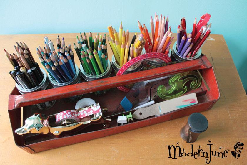 vintage-tool-tray-turned-art-bin