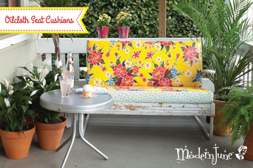 Sewing with Oilcloth Spotlight: Oilcloth Seat Cushion | Modern June