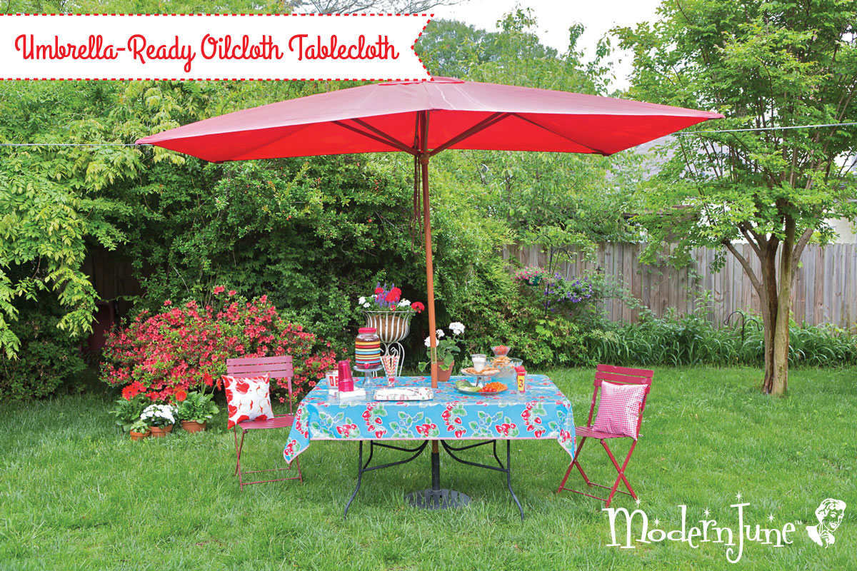 umbrella ready oilcloth tablecloth pattern modern june