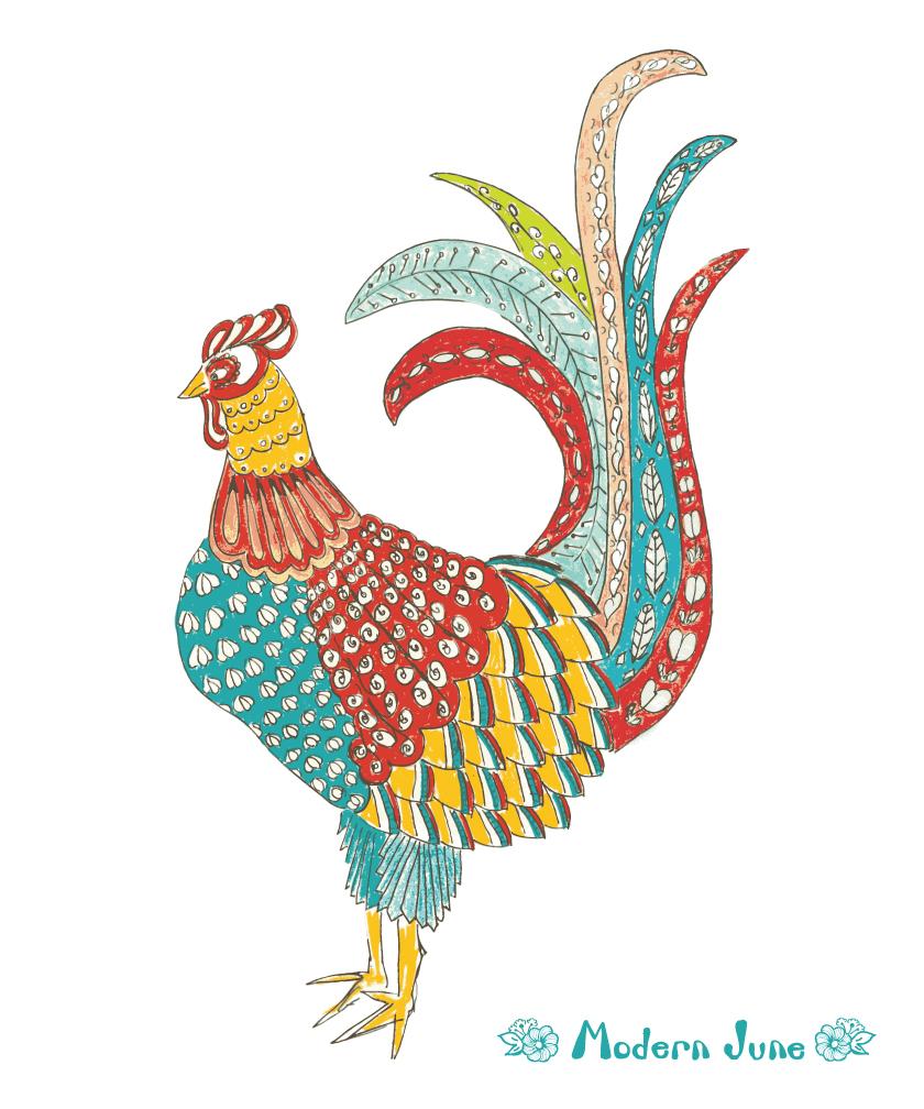 Folk-Art-Rooster-by-Modern-June-Art-